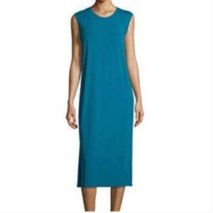 Eileen Fisher Teal Blue Sleeveless Midi Dress XS